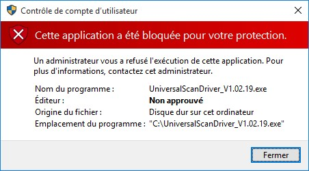 Application bloquée